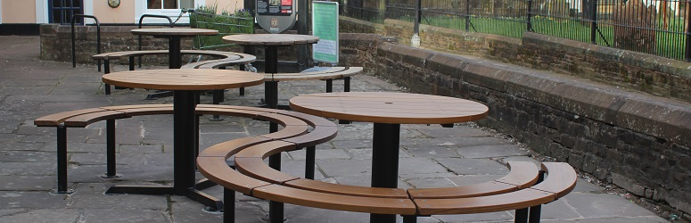 New seating outside Penrith Library